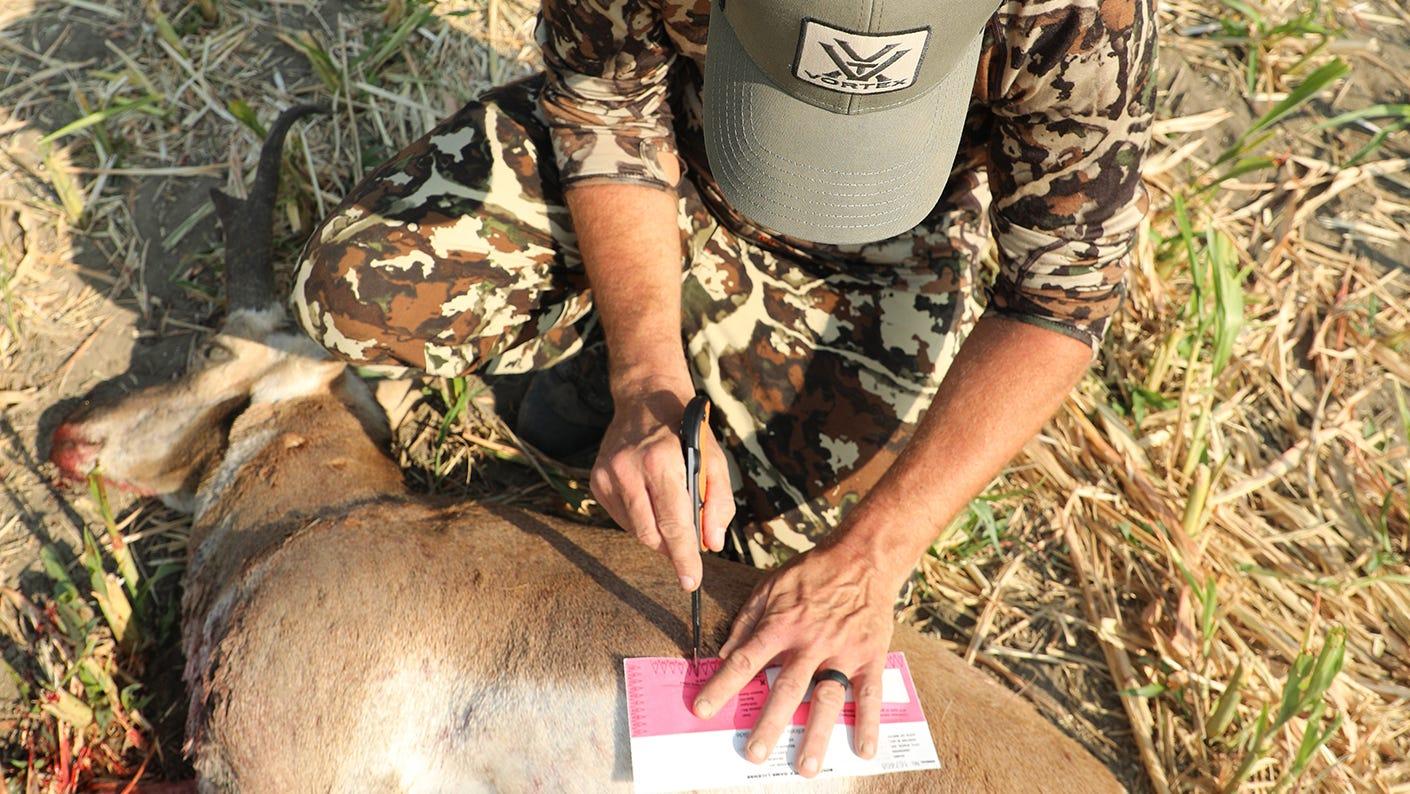 Deer hunter filling out a deer tag.
