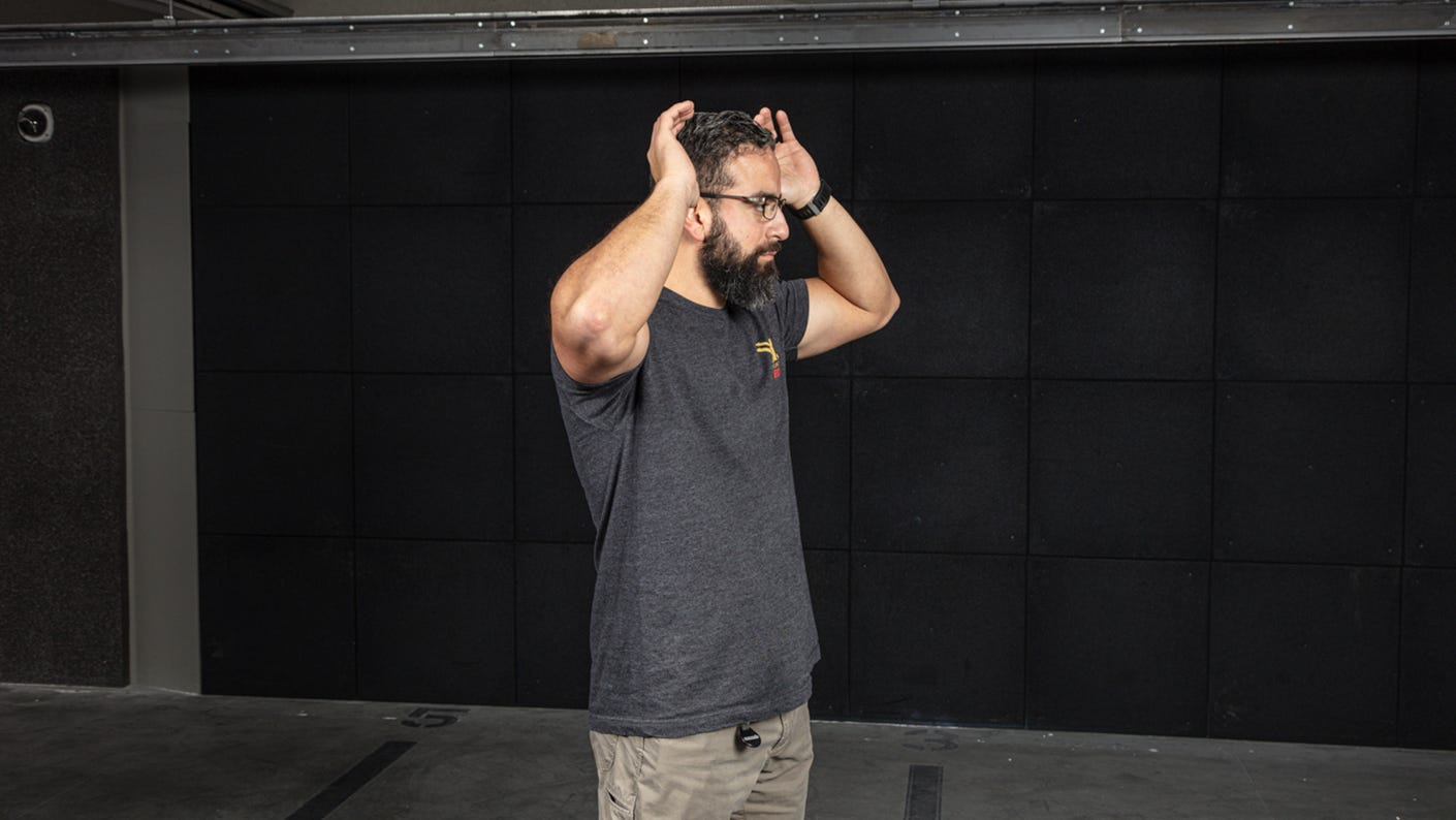 Dry fire stance defensive stance with hands help above your head.