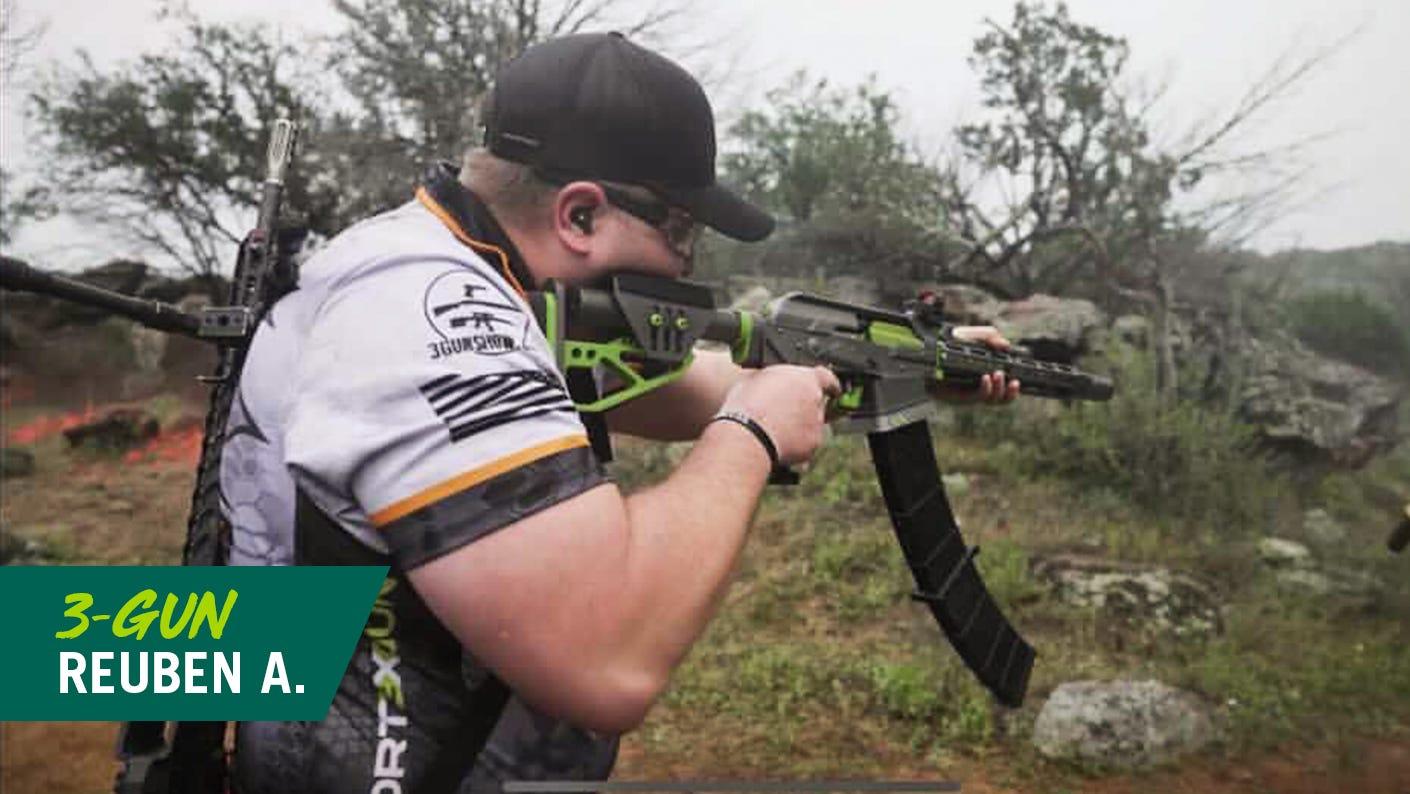 Reuben ensures his shooting equipment is functioning 100% at the range.